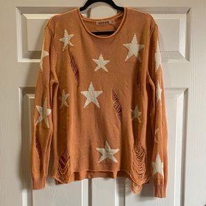 Rehab Distressed Star Orange Sweater Size: S/M